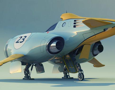 卡通概念汽车和飞机战机