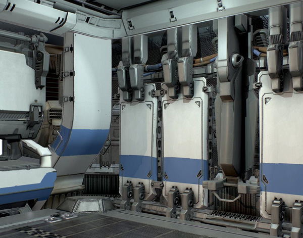 太空舱,星际飞行器舱体内部模型设计