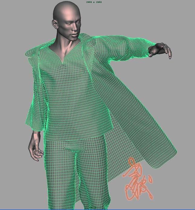 布料用syflex,裤子、内衣和外衣解算40帧用40分钟左右,如机器好些会更快,回放速度快,动画应该还能接受。 做练习没有必要这么多面,如减少一半的面数,基本上2秒3秒一帧,速度较快。如果用于作品,没有办法现在的技术也只能这样了!大凡效果和速度是反比例的。 首先弄一根多边棍子,穿上骨骼然后肉体绑定。