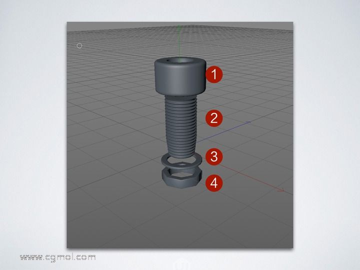 Cinema 4D制作螺丝的螺纹效果