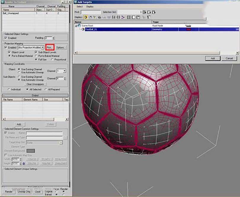 3DsMAX足球贴图具体的制作步骤之纹理渲染