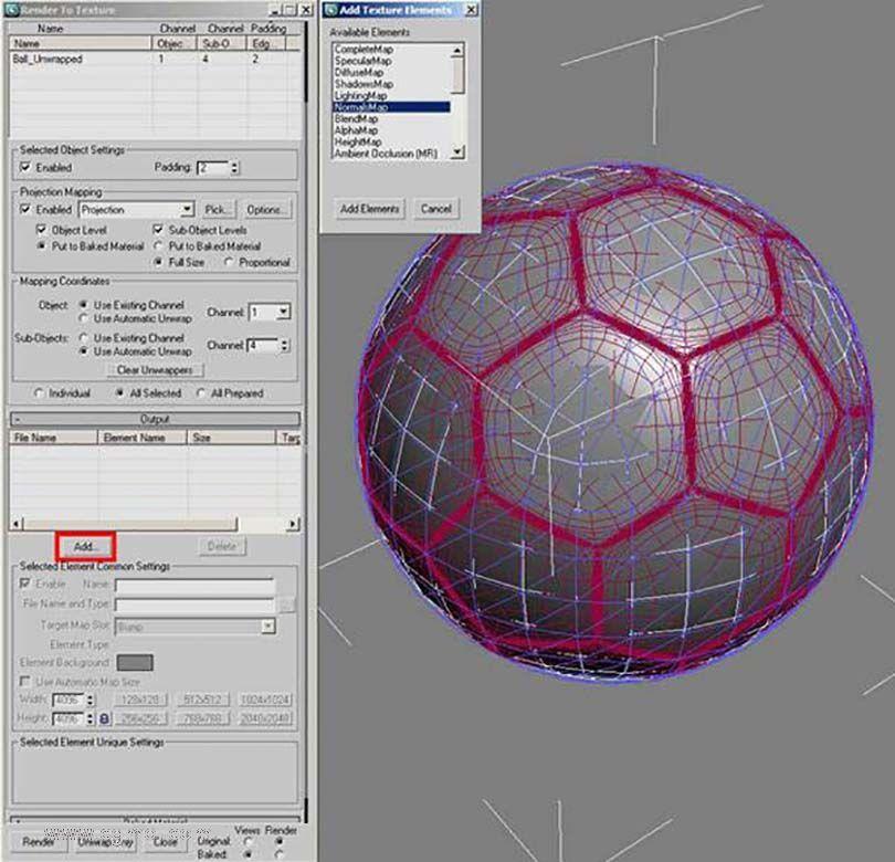 3DsMAX足球贴图具体的制作步骤之在渲染到纹理框中选择NormalsMap