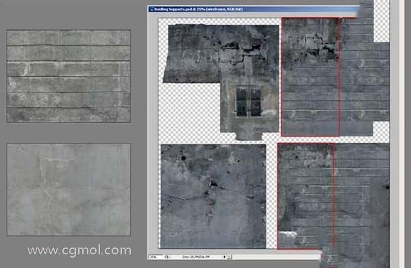 3dsmax纹理贴图技巧之支柱部分纹理贴图色调风格必须一致