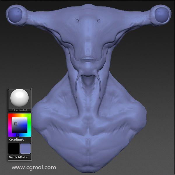 次时代Hammerhead锤头怪外星生物雕像制作流程之材质和纹理