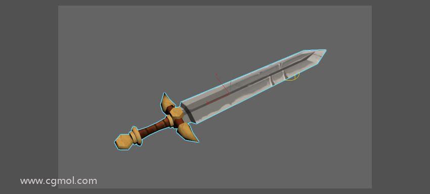 纹理贴图已应用于剑模型