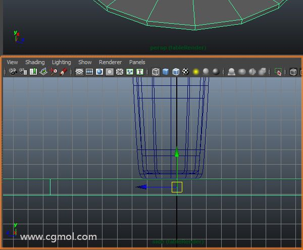 在侧面视图,我们需要对齐桌子使用的玻璃移动工具
