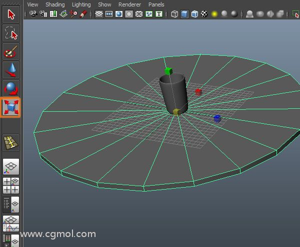 使用缩放工具,缩放圆柱直到它具有桌子的形状