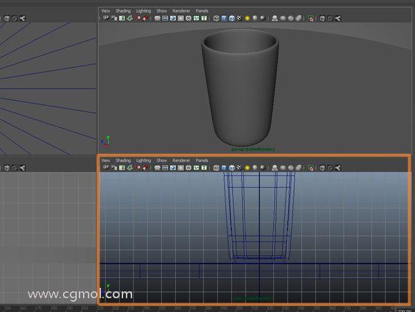 现在我们要在玻璃杯中制作水,进入侧面正交视图