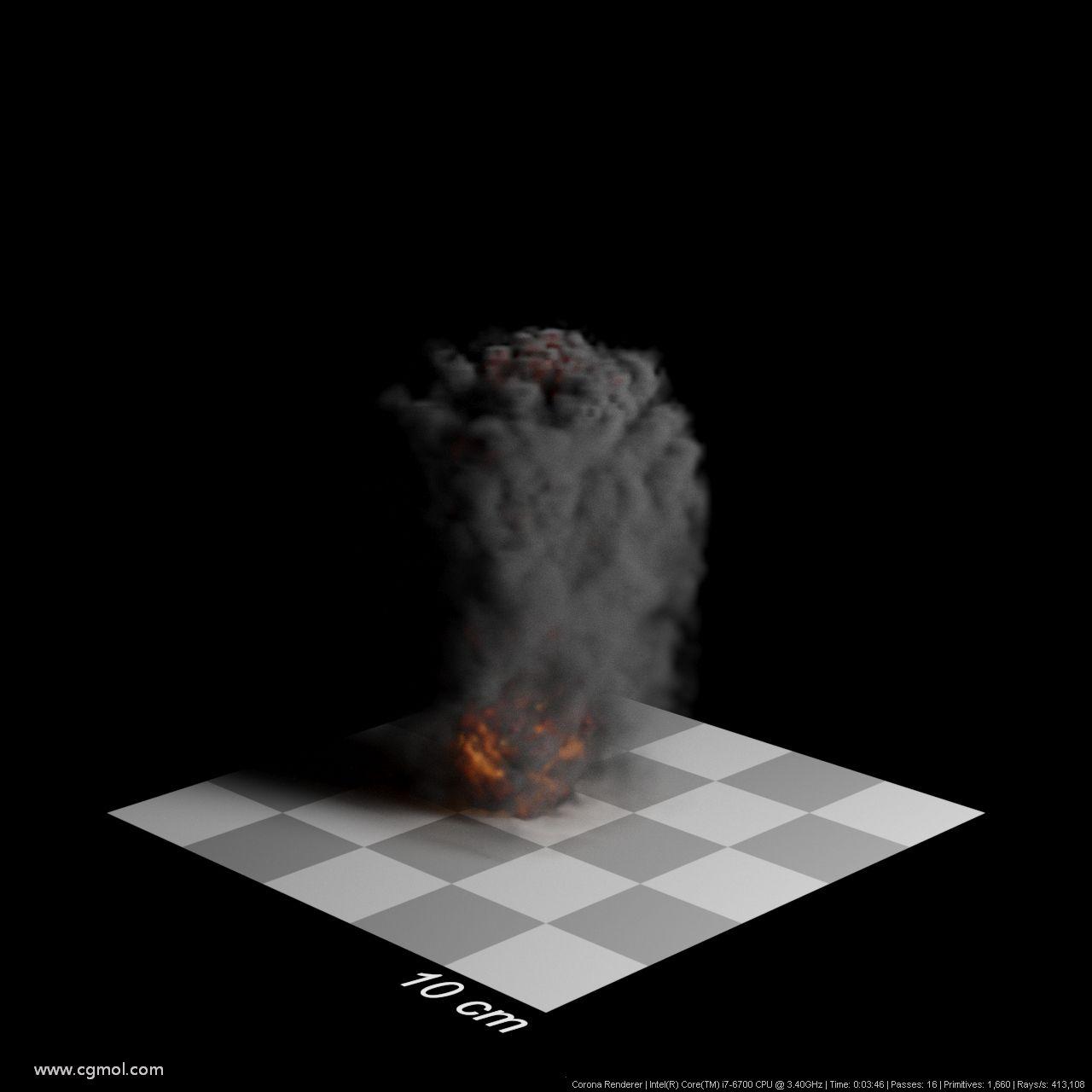 步长0.5厘米。渲染时间3分46秒。烟雾浓密,细节得以保留