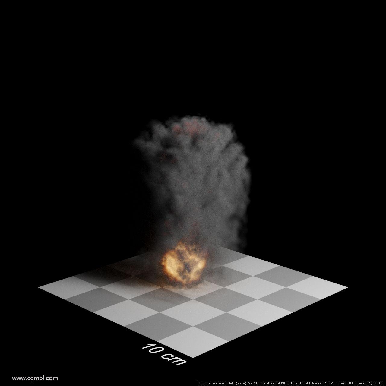 步长5厘米。渲染时间48秒。烟雾越来越薄,可见的细节越来越少