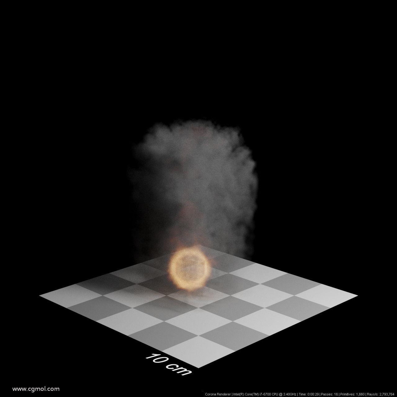 步长50厘米。渲染时间29秒。整个对象变得透明,细节丢失。