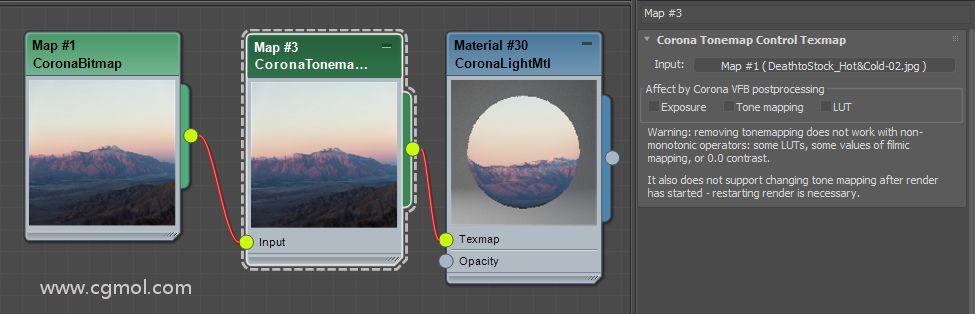 """相同的背景材料设置,但这次位图插入Corona输出图并且""""受Corona VFB色调映射影响""""选项被禁用"""
