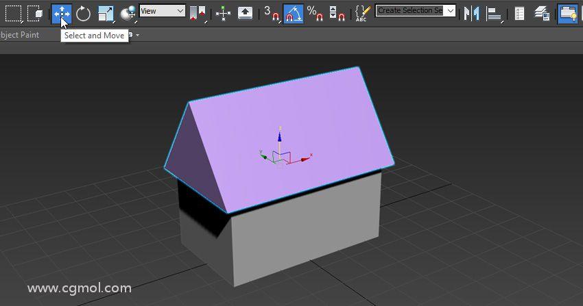"""现在使用""""  移动"""" 和""""  旋转"""" 工具将新创建的对象放在盒子顶部"""