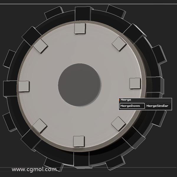 通�^���MergeDown按�o�⒍嗑S���集�c基本Cylinder 合并