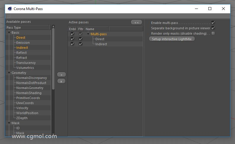 转到Corona> Multi-Pass ...,启用Multi-Pass,然后添加Basic> Direct和Basic>间接传递