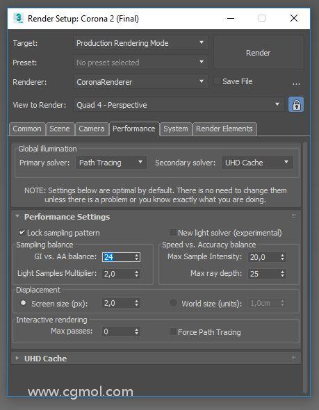渲染设置>性能>性能设置>采样平衡并稍微增加GI与AA平衡。默认值为16,建议不要将此值增加到64以上。