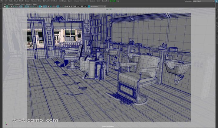 在Autodesk Maya中创建的3D电影黑色场景建模。
