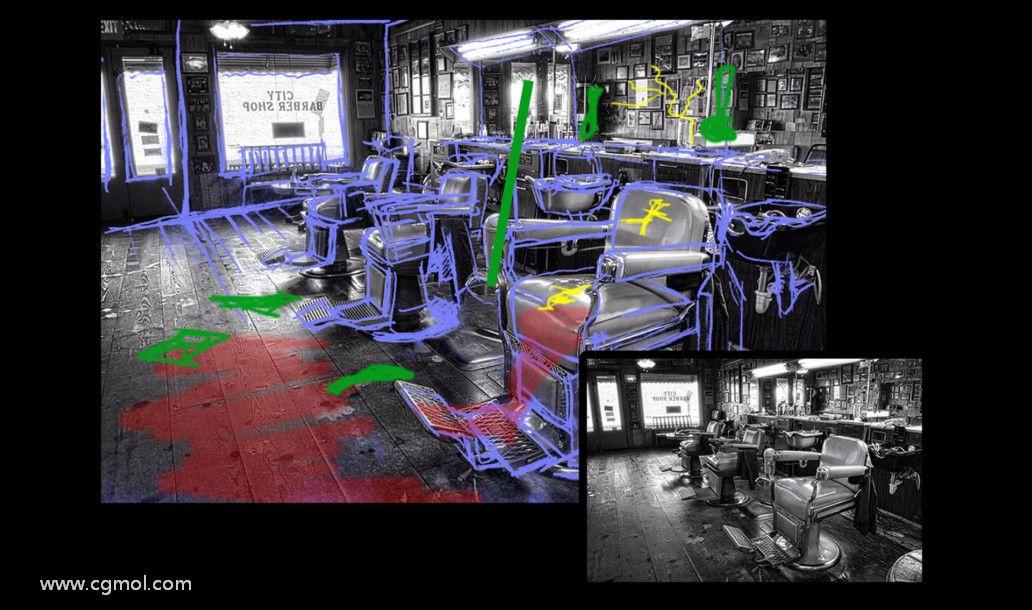 阻止在Autodesk Maya中创建的3D电影黑色场景的布局。