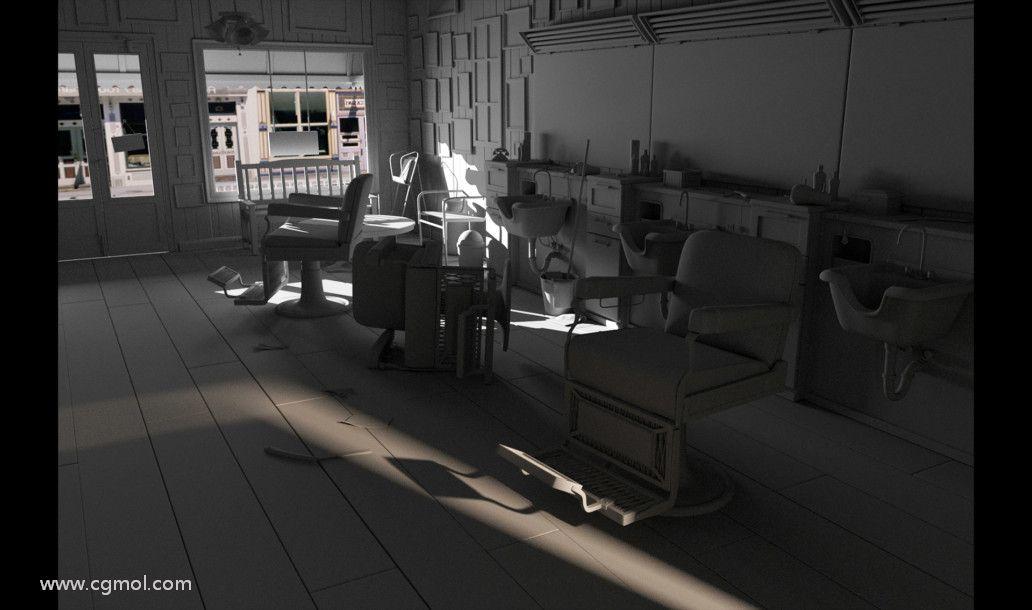 在Autodesk Maya中创建的3D电影黑色场景的照明。