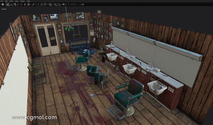 在Autodesk Maya中创建的3D电影黑色场景的纹理。