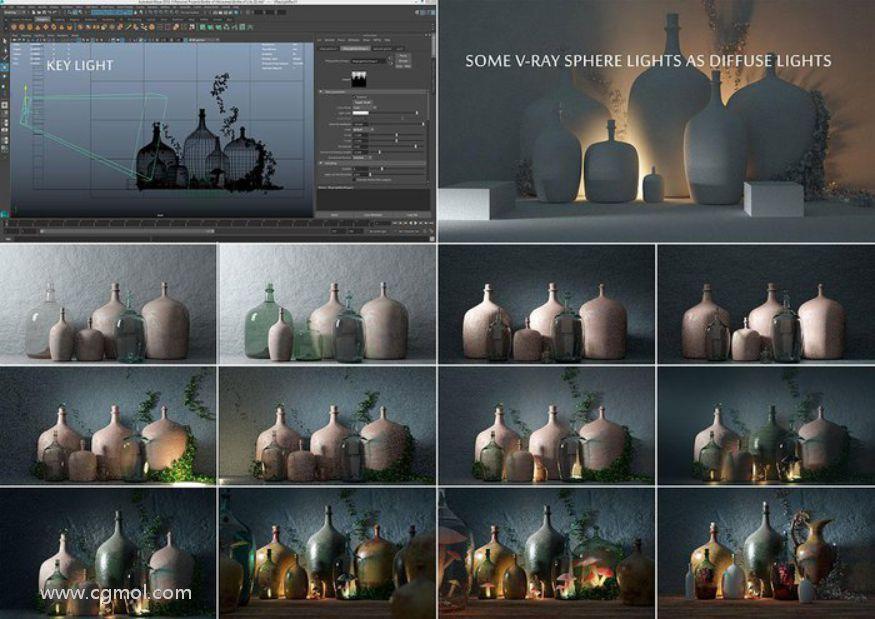 Maya制作生命之瓶瓷器艺术品第二节:灯光和材质