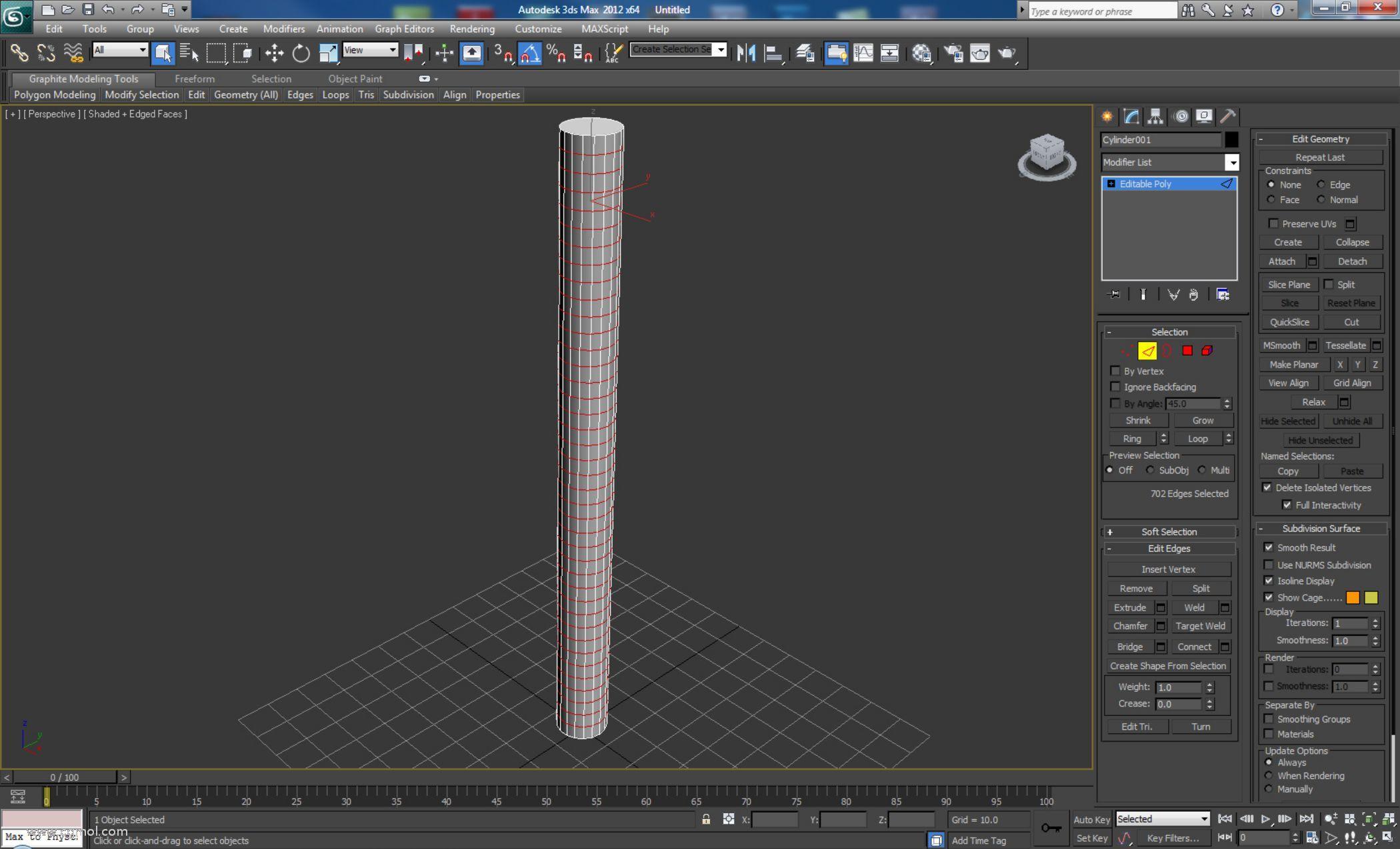 创建一个具有18个边和40个高度段的圆柱体