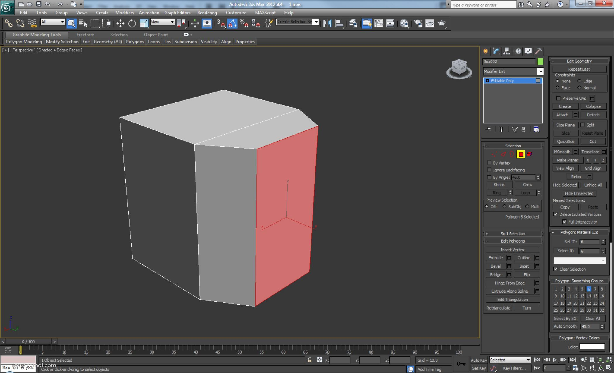 创建一个新框并将其转换为可编辑多边形