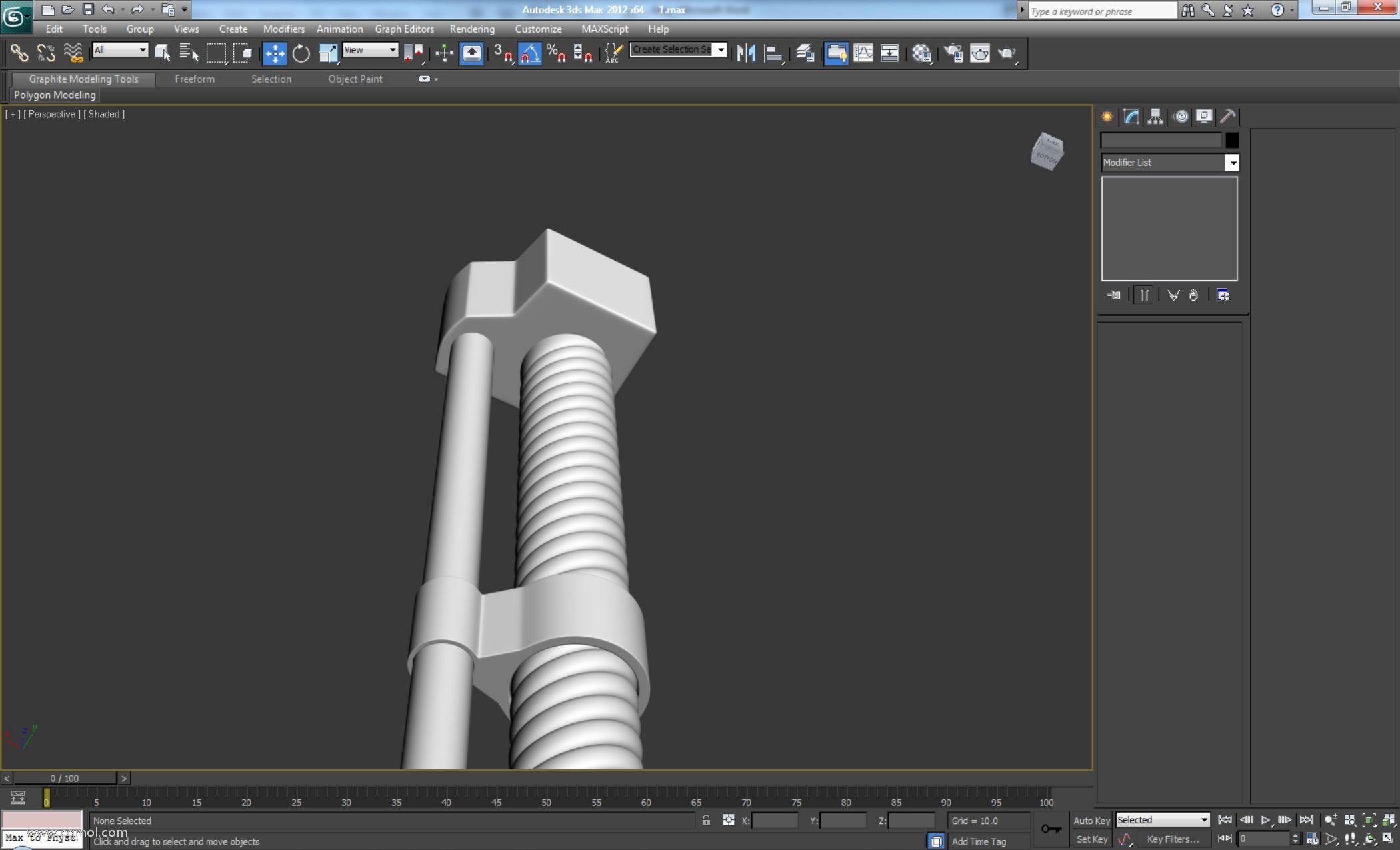 删除顶部多边形,因为它们不可见。并添加一个涡轮平滑,迭代次数设置为2,并将其放在我们的圆柱顶部。