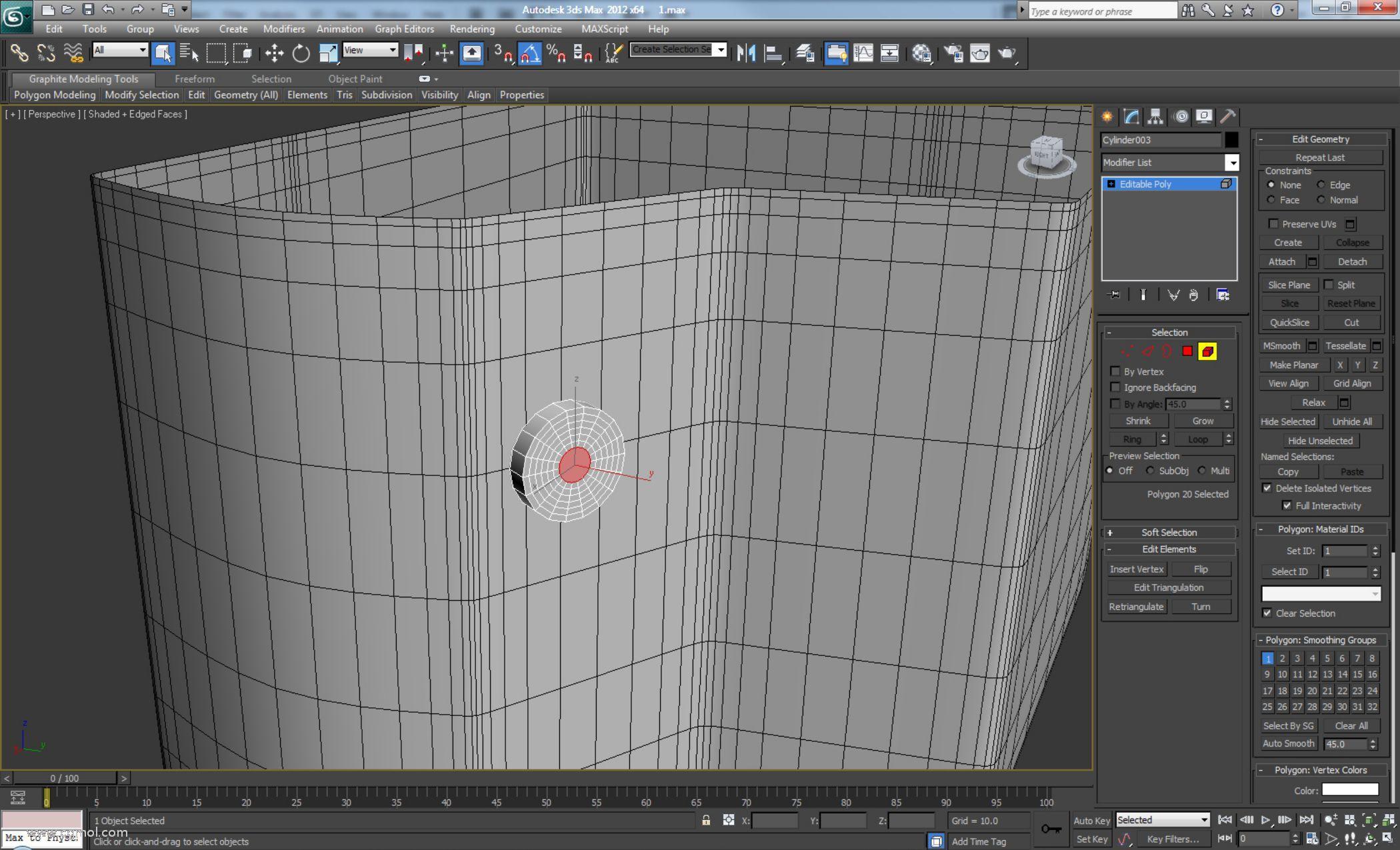 """创建另一个新的圆柱体并单击""""自动网格""""选项,以便在与其下方曲面相同的平面上创建圆柱体。将其转换为可编辑多边形并使用相同值将其插入六次"""