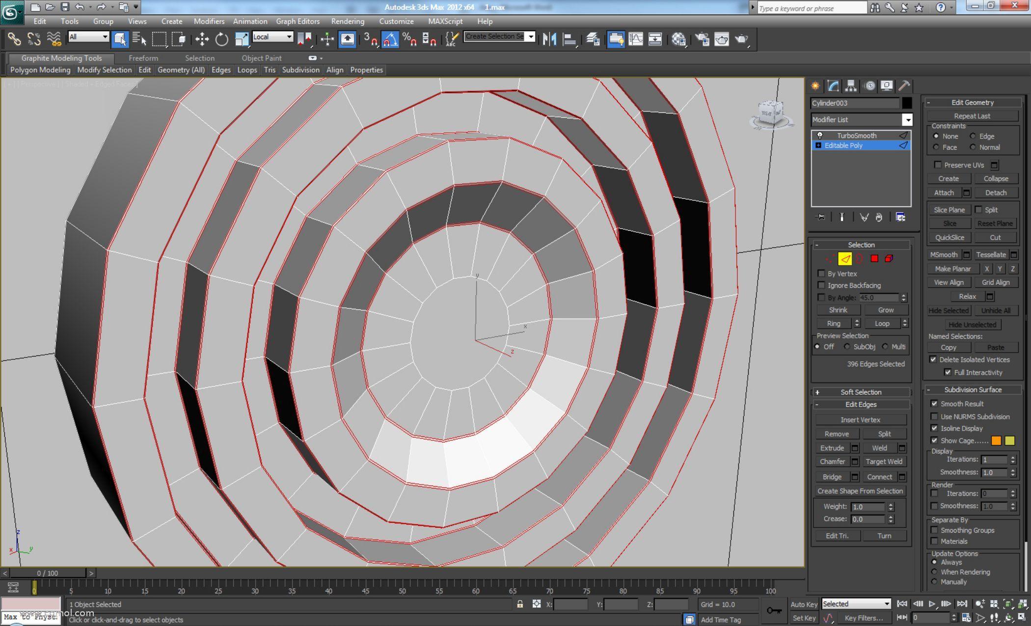 选择显示的边循环并使用较低值(编辑边>倒角)对它们进行倒角。选择中心多边形并再次插入。然后删除我们将无法看到的后面的多边形。