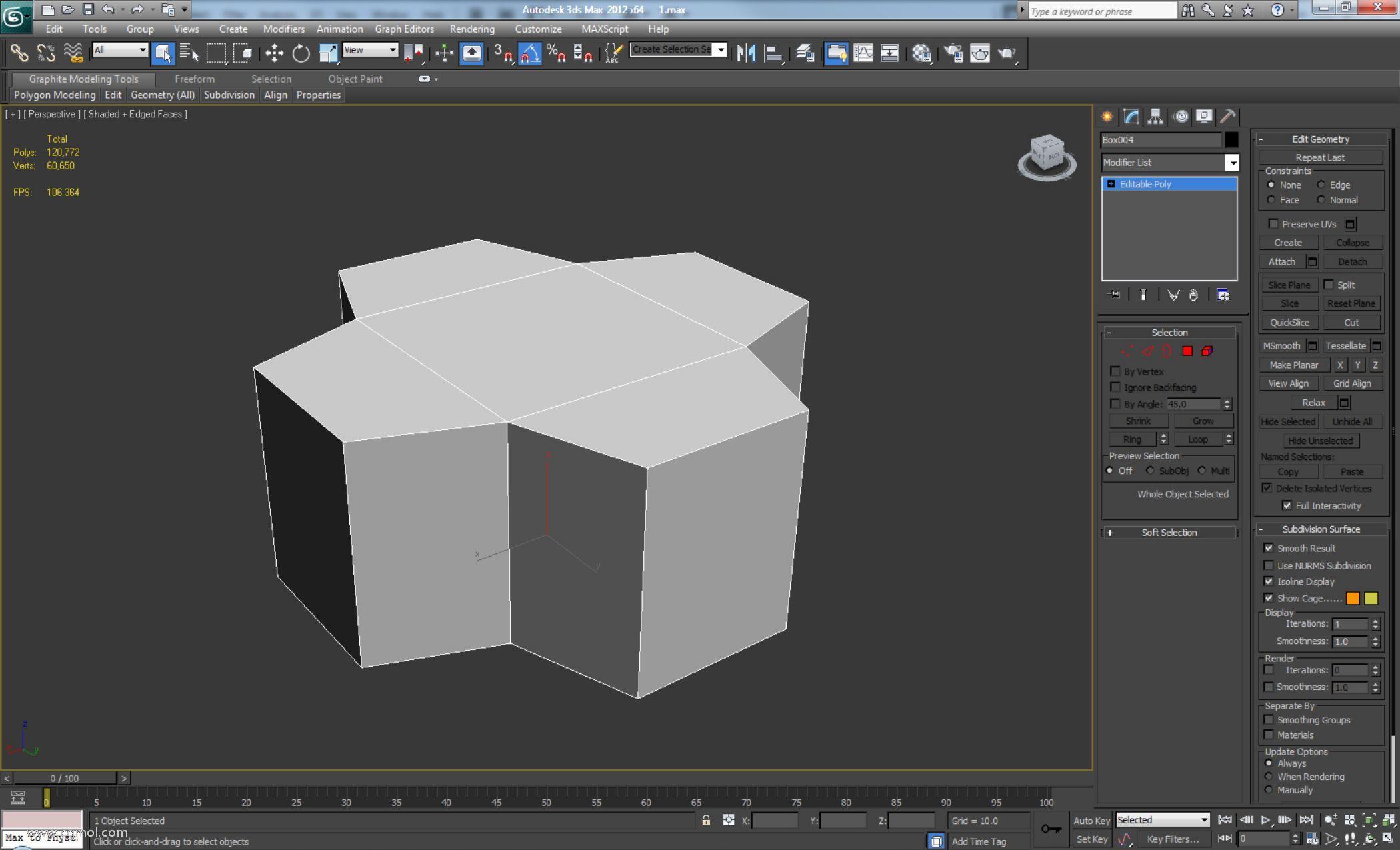 创建一个新Box,将其转换为可编辑多边形并向外挤出四个边多边形。然后如图所示缩小两侧(不改变高度。)