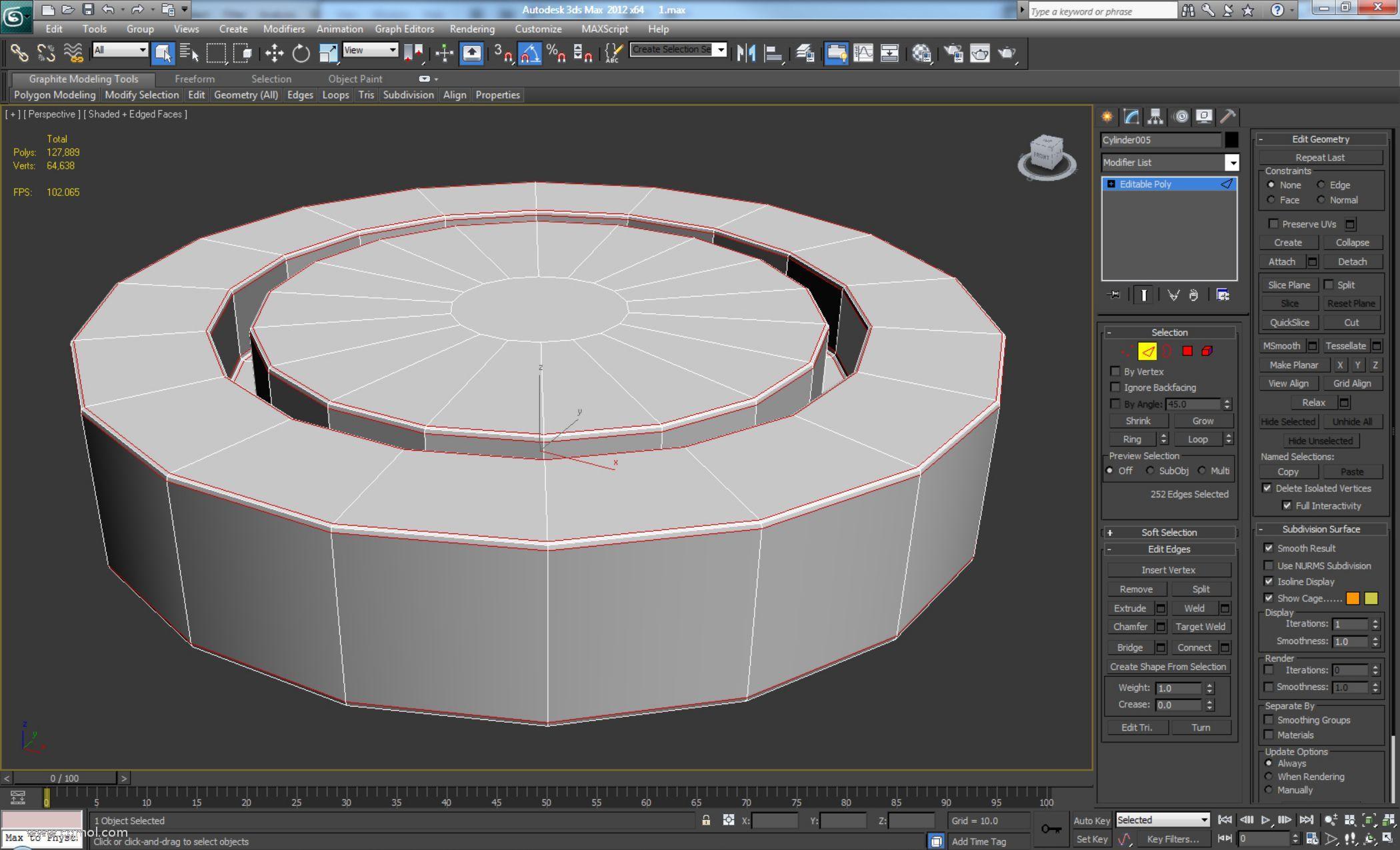 我们将使用具有较低值的Chamfer并将Connect Edge Segments设置为2,以便在平滑元素时获得良好的形状