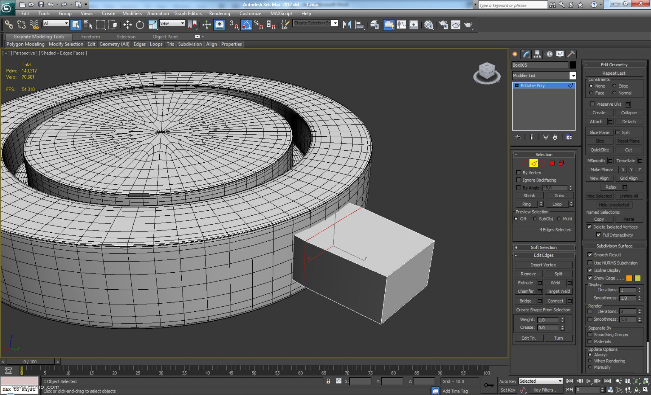 添加Turbosmooth,迭代次数设置为2并创建一个新Box。将该框转换为可编辑多边形并添加一个新循环