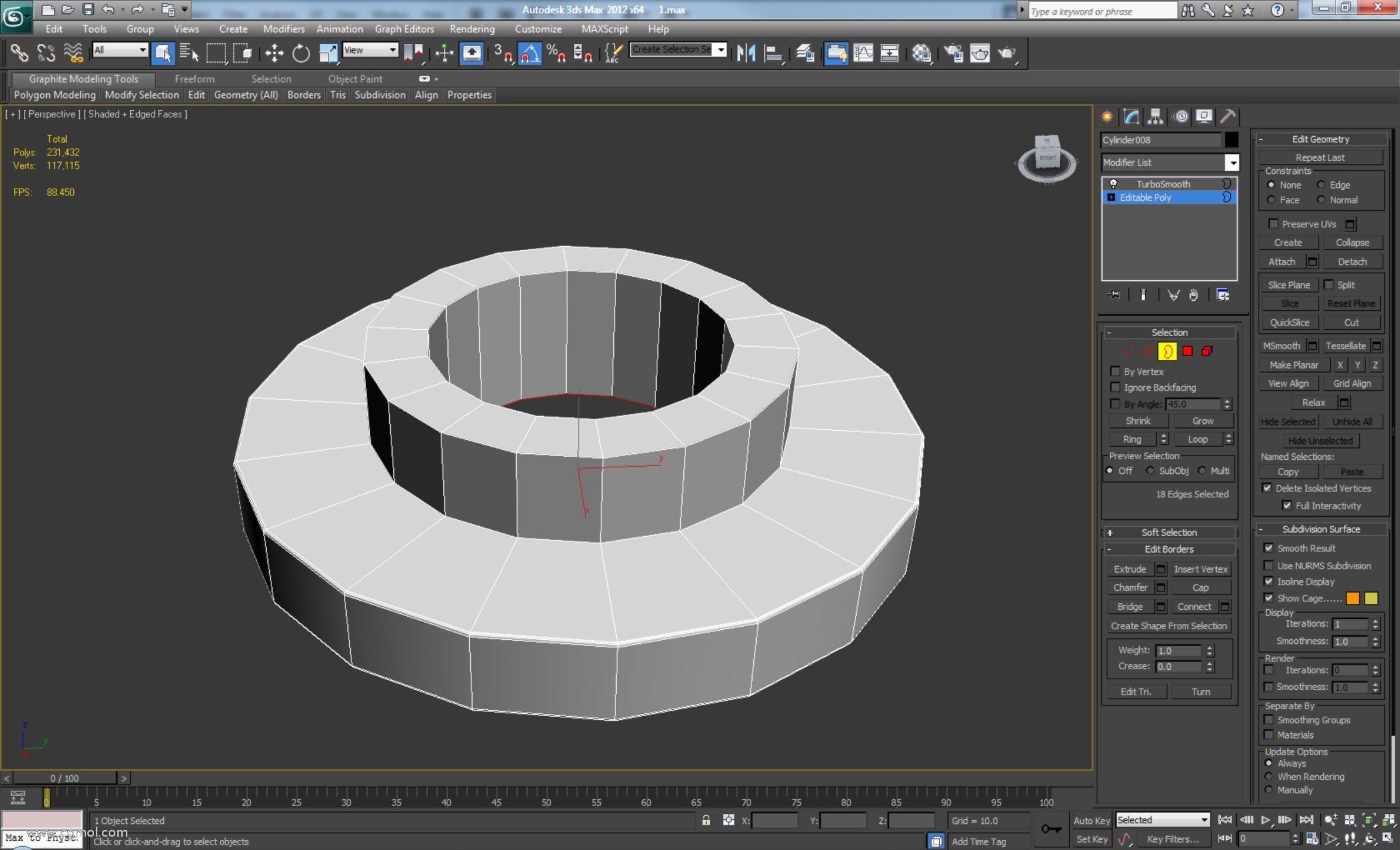 删除顶轮的顶部多边形。使用Shift +拖动和Shift + Scale,插入并拉伸边以创建如下所示的形状。
