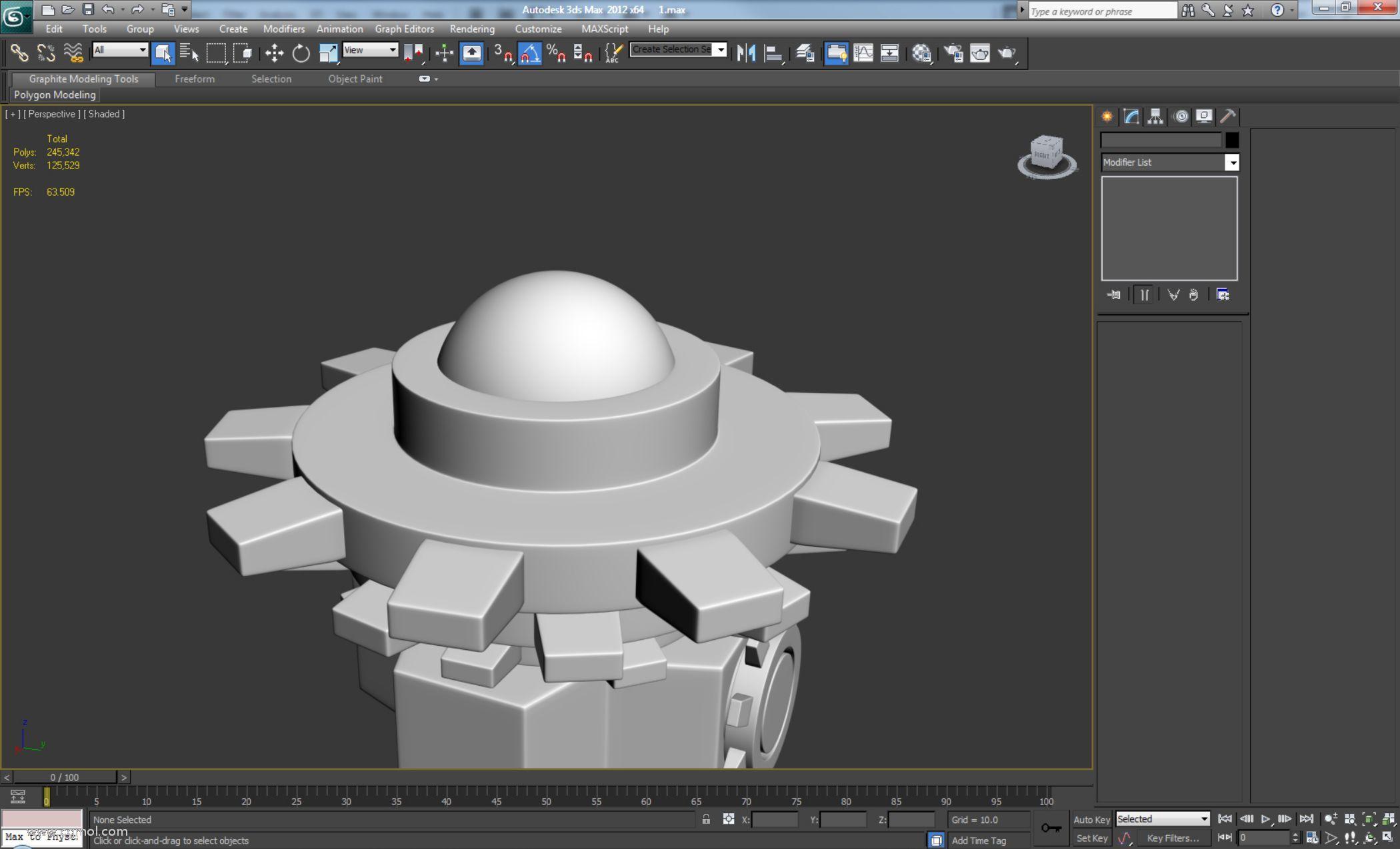 制作一个新的Sphere,有60个段,直径与车轮上的孔大小相匹配。
