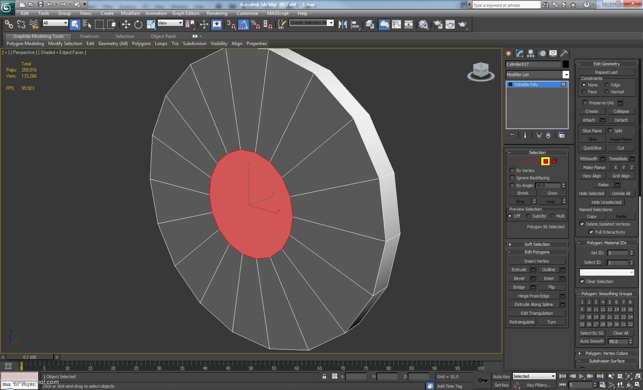 创建一个具有18个边的新圆柱体,将其转换为可编辑多边形并插入前后多边形