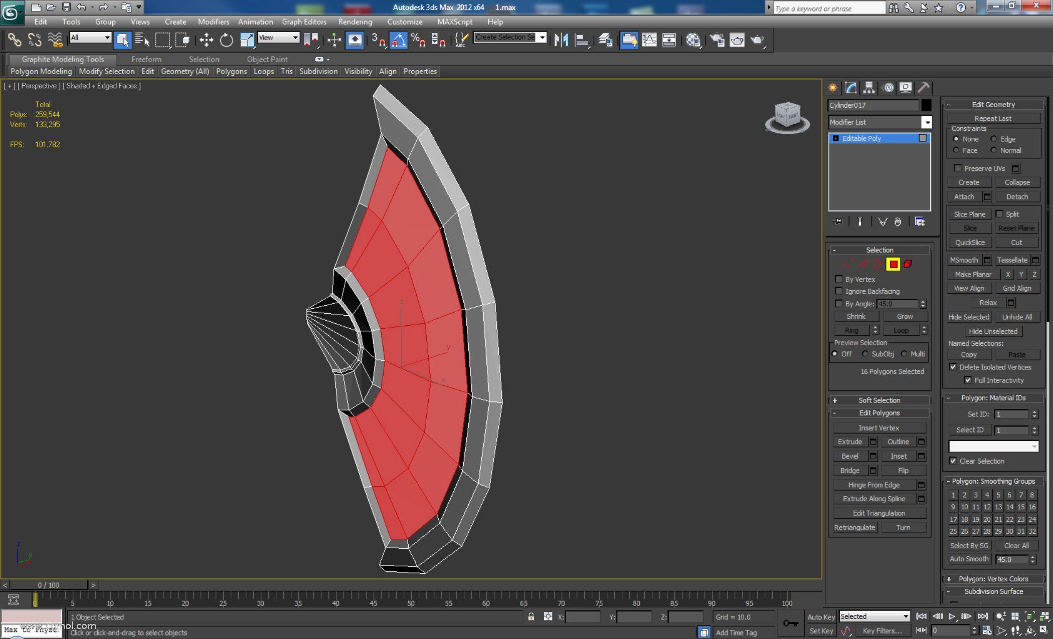 """由于缺乏细节,删除整个背面。选择前多边形并使用""""倒角""""工具在所选多边形上创建下面显示的详细信息。应调整外边缘以在刀片上获得类似边缘的形状"""