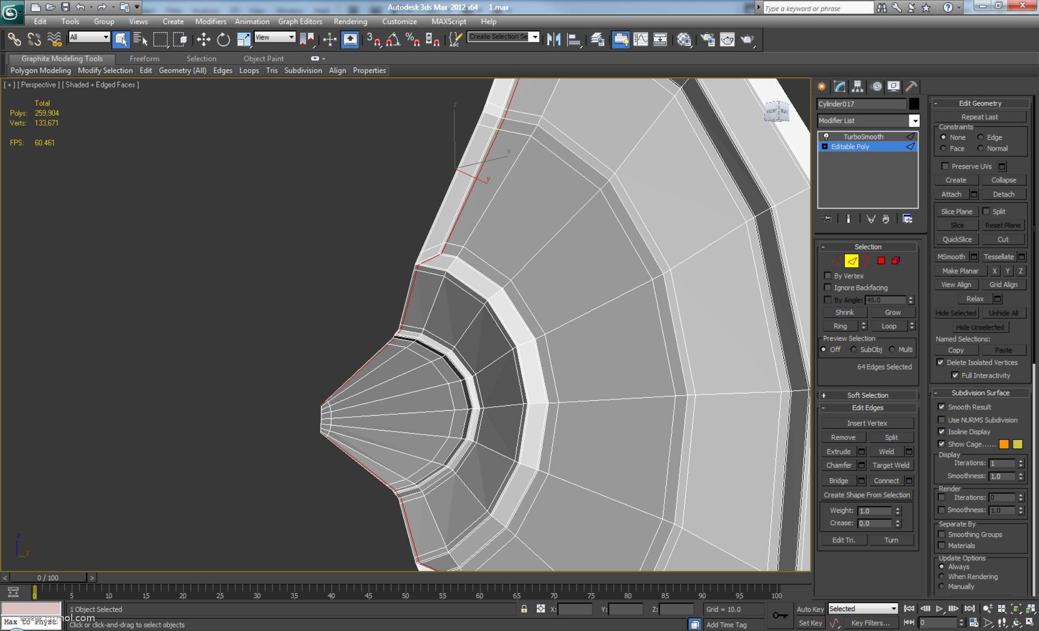 然后使用Connect,Segments设置为1并将Slide设置为80,并将-80设置为底部,添加如下所示的添加边循环
